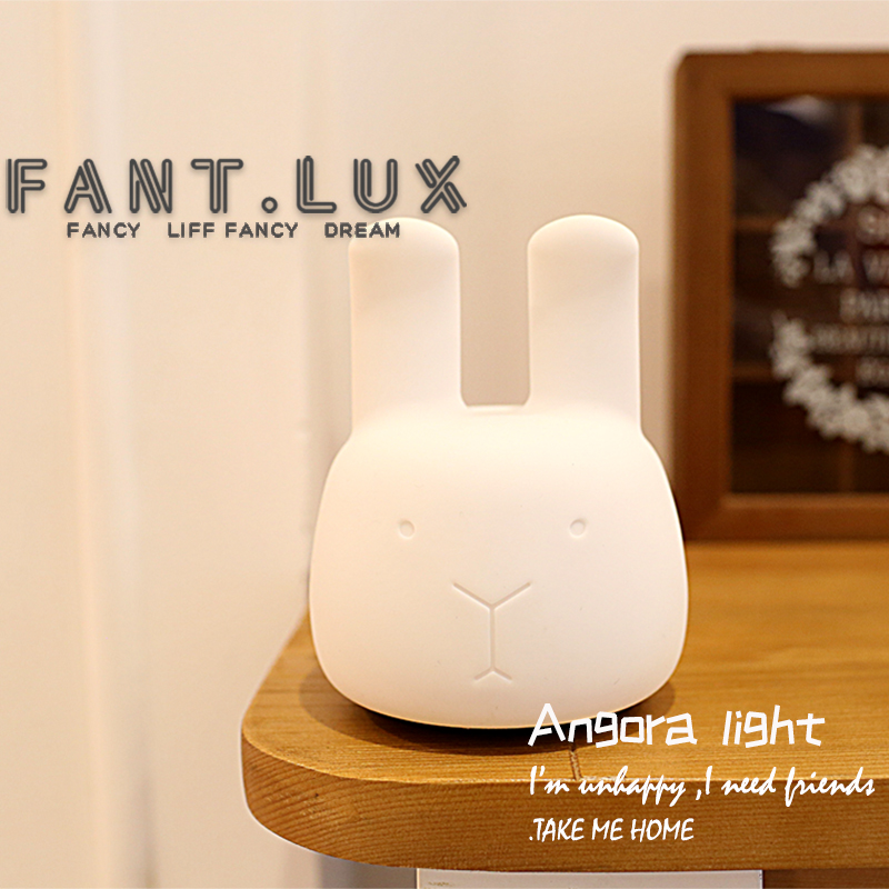 Angora Bunny cartoon silicone baby LED night light children toy lights bedroom decoration bedside night lamp gifts for kids