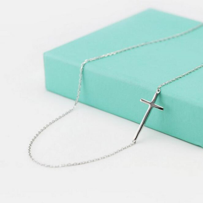 Personality Cross Female Short Paragraph S925 Sterling Silver Jewelry Sweet Simple Wild Pendant Necklace  H103