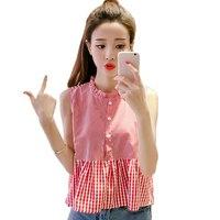 2017 Summer Fashion Plaid Blouse Shirt Women Plus Size Tops Sleeveless Ruffled Neck Ruffle Shirts Blouses