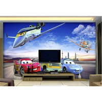 3D Wallpaper Mural Decor Photo Backdrop Home Decor Living Room Wall Covering Blue Sky Airplane Sports Car Drawing