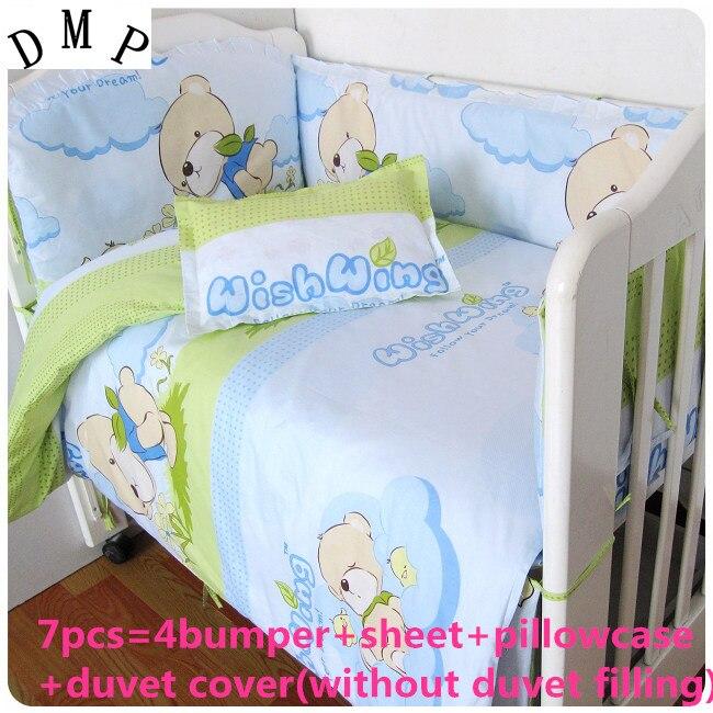 Promotion! 6/7PCS Baby Bedding Set 100% Cotton Crib Bedding for Children Detachable Duvet Cover , 120*60/120*70cm