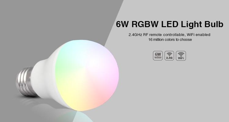 Free shipping Mi Light RGBWW/VW 6W led bulb 2.4GHZ E27 smart mobile phone WIFI led light lamp AC85V-265V Dimmable Lampada Lights mi light 2 4g mr16 4w led bulb rgbww rf professional smart led spotlight wireless wifi controller for led bulb ac dc12v