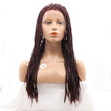 Natural Hairline 16-26 inch Long 99J Color Futura Fiber Heat Resistant Pre Braided Twist Braid Synthetic Lace Front Wigs
