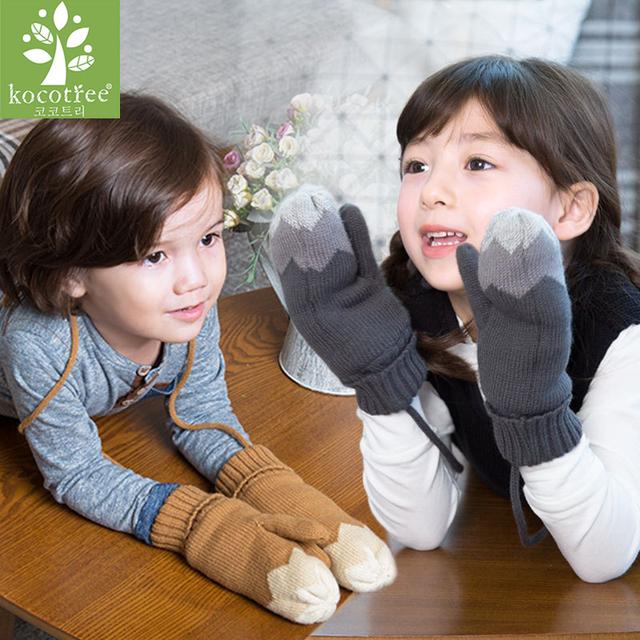 New Kids Outono Inverno Cordão Luvas luvas Unisex Colorido Do Floco de Neve Padrão Halter Pacote Luvas Luvas das Crianças Acessórios
