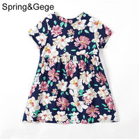 Girls Summer Dress Kids Clothes 2017 Brand Baby Girl Dress Floral Leaves Print Toddler Beach Princess Dress Children Clothing