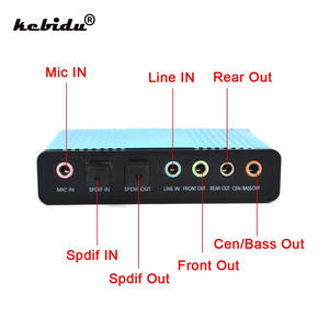 kebidu CM6206 Professional USB Sound Card 6 Channel for Desktop Tablet