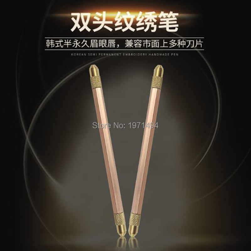 Direct sales 10pcs Double head manual pen 3D Microblading pen Manual tattoo pen for eyebrow tattoo fit for all the needle blade