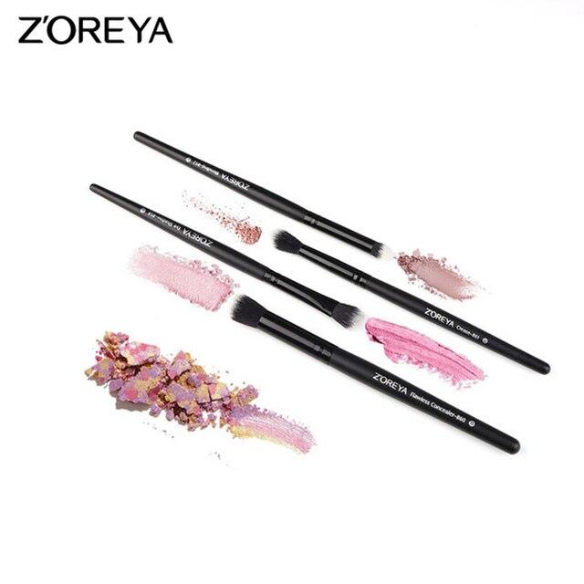 ZOREYA marca 4 piezas ojo cepillo conjunto clásico negro pinceles de maquillaje incluyendo sombra delineador de ojos y cejas cepillo ZZ4