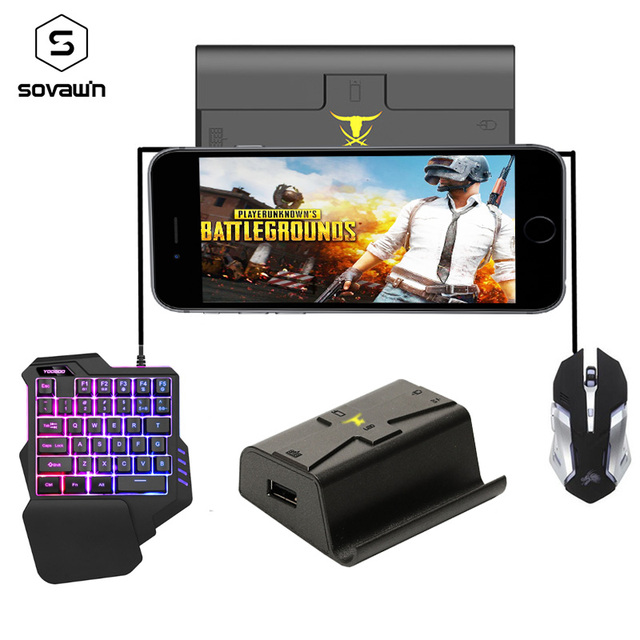 Sovawin G1X Plug and Play PUBG Mobile Gamepad Controller Gaming Keyboard Mouse Android Phone to PC Converter Adapter for iPhone