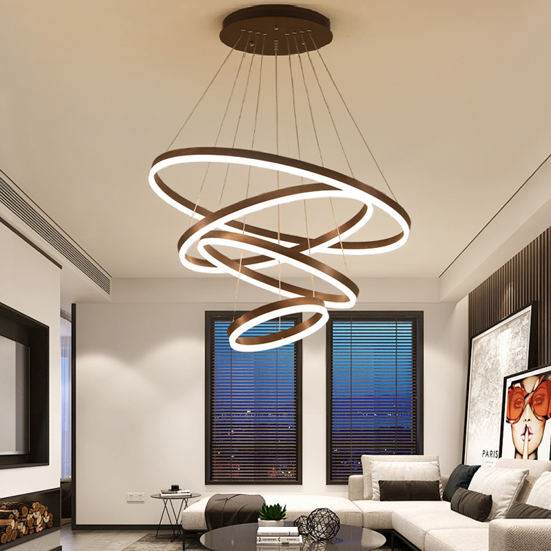 Us 72 45 55 Off Pendant Lights Led Modern Hanging Ceiling Lamp Living Room Dining Circle Rings Acrylic Aluminum Body Fixture In