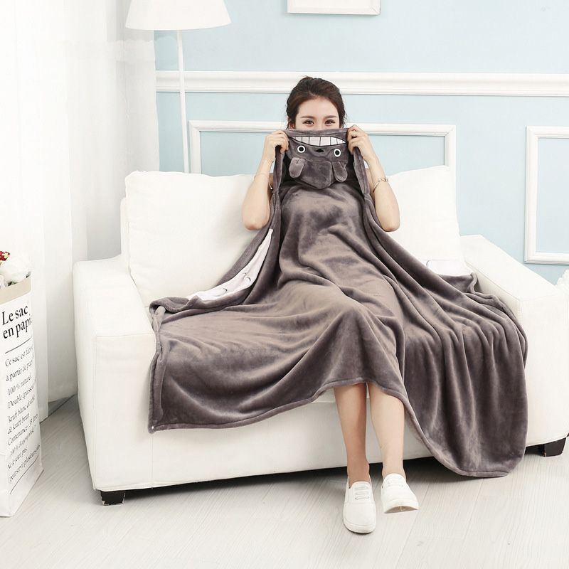 Kawaii 160 90cm Adult Hooded Blankets Coral Fleece Cartoon Animal Totoro Air Conditioning Portable Soft Gray Blanket for Beds in Blankets from Home Garden