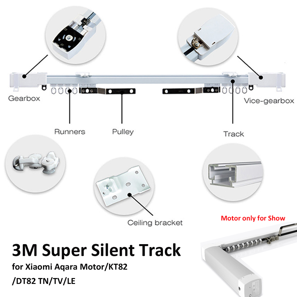 3M Xiaomi Aqara Curtain Rails,Zigbee Wifi work with MI HOME,smart remote control silent track,also for Dooya KT82/DT82 TN/TV/LE ewelink dooya electric curtain system curtain motor dt52e 45w remote control motorized aluminium curtain rail tracks 1m 6m