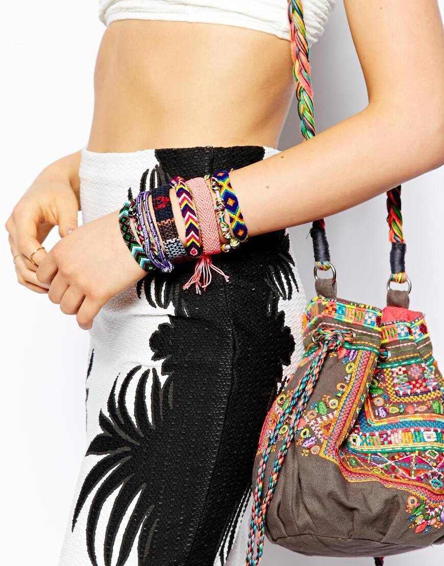 ברזיל בעבודת יד Weave קלוע מחרוזת חבל צמידי עבור נשים בציר כותנה לעטוף קסם אתני Boho צמידי Dropshipping
