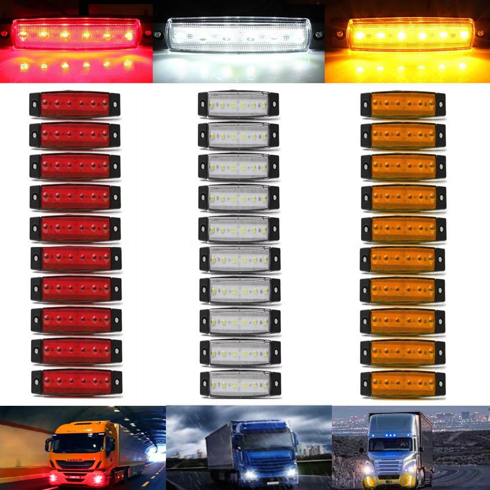 New Arrival 30Pcs 6LED Side Marker Indicator Light Truck Trailer Bus Signal Lamp white/red/yellow DC12V dc 12v pt1 16 thread red pilot lamps indicator signal light 5pcs