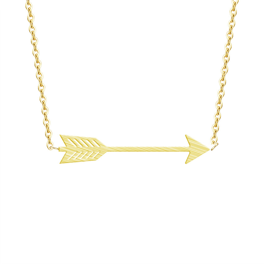Minimalist One Direction Arrow Pendant Necklace Women Men Jewelry Stainless Steel Gold Chain Feather Collier Bijoux