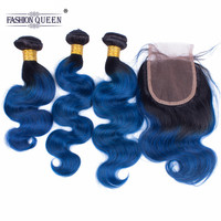 Fashion Queen Body Wave Bundles With Closure T1B/Blue Brazilian 100% Human Hair Non Remy Weave With Free Part Lace Closure