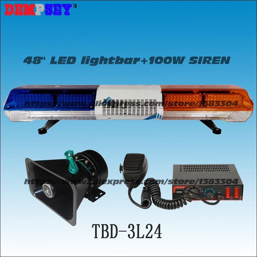 TBD-3L24 <font><b>LED</b></font> <font><b>lightbar</b></font>/<font><b>Police</b></font>/ Car Flash Warning Lights/ DC12V/ 1.2m length with 100W siren &#038; 100W speaker