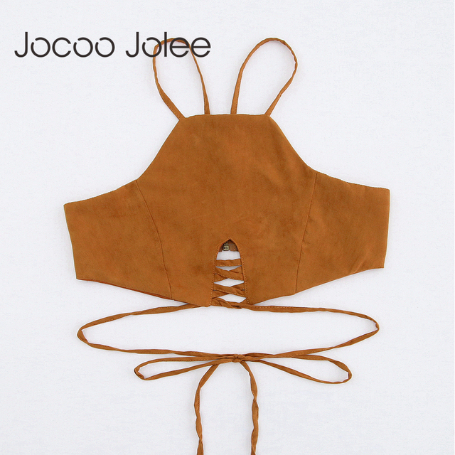 Jocoo Jolee Sexy Lace up Women Bra Camis Halter Bohemian Style Tank Tops Short Hollow out Women Tanks Beach Wearings 2018 Summer