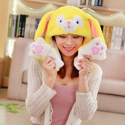 Новинка, Мультяшные шапки с подвижными ушками, милый Игрушечный Кролик, шапка с подушкой безопасности, Kawaii, забавная шапка для девочек, детская плюшевая игрушка, рождественский подарок - Цвет: Yellow Dog