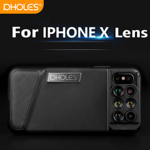 Best price New For iPhone X Dual Camera Lens 6 in 1 Fisheye Wide Angle Macro Lens For iPhone X 10 Telescope Zoom Lenses +Case
