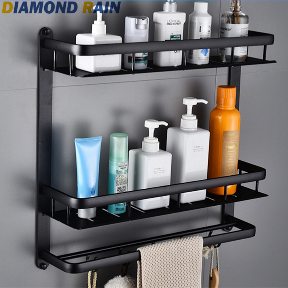 Bathroom Shelves Double Layers Aluminum Bathroom Shelves Hollow Out Modern Silver Rectangular Wall Mounted Dr-54