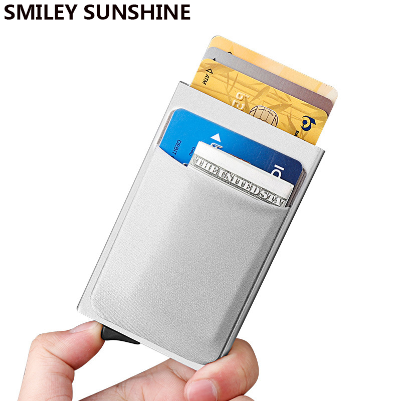 Aluminum ID Card Holder Women Men Wallets RFID Blocking Mini Slim Metal Wallet Automatic Pop up Thin Wallets Vallet Coin Purse