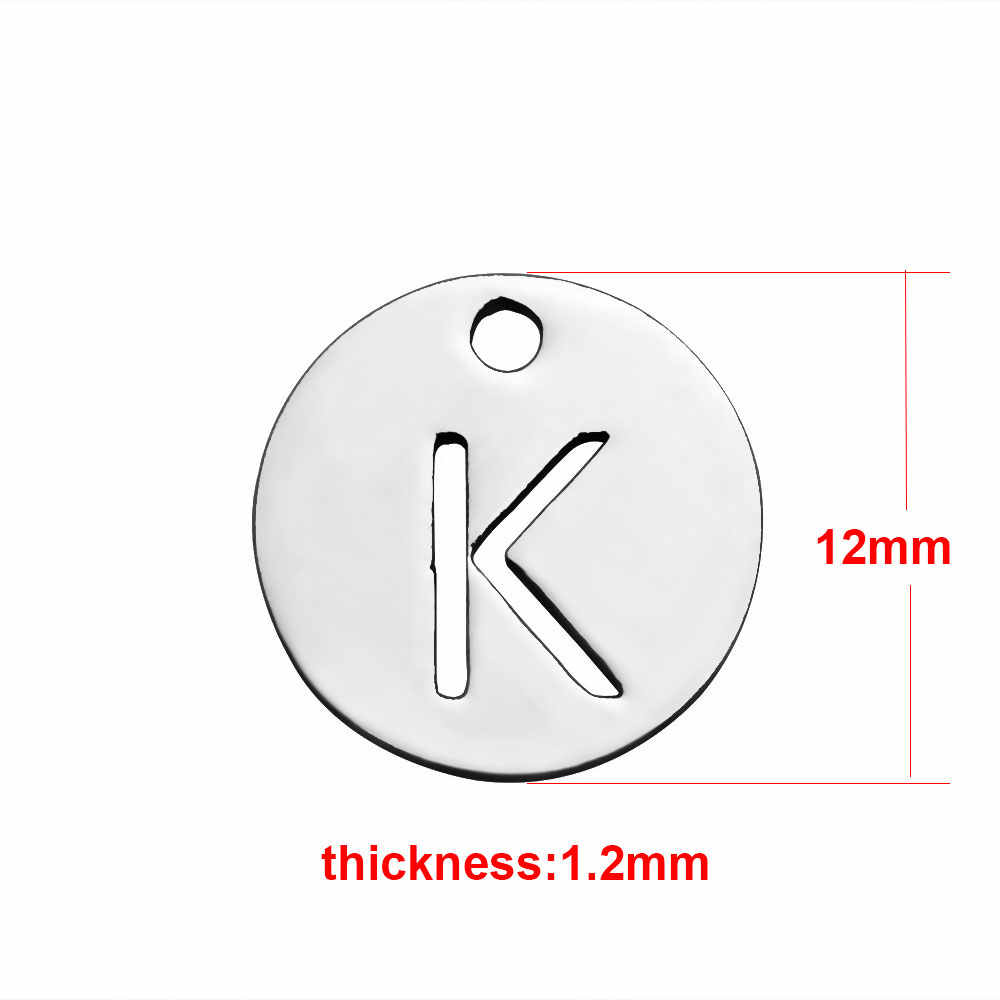 1X Titanium Steel 26 Letters A-Z Charms Round Pendants Jewelry Making DIY Letter Bracelet Necklace Accessories