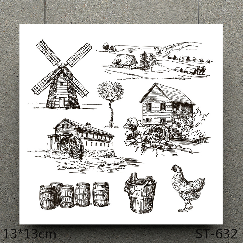 AZSG Farm Clear Stamps/Seals For DIY Scrapbooking/Card Making/Album Decorative Silicone Stamp Crafts