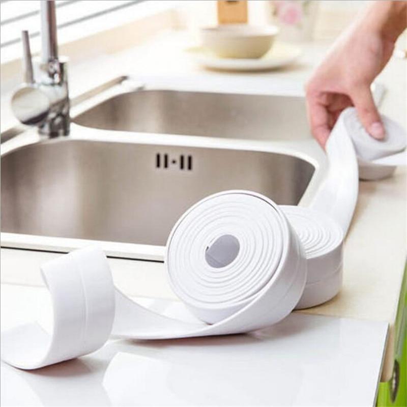 JJ Accessory Self Adhesive Kitchen Ceramic Sticker Waterproof Anti-Moisture PVC Sticker Bathroom Wall Corner Line Sink Stickers