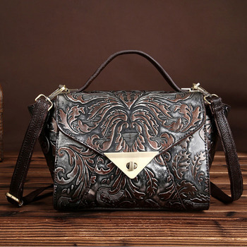 Women Genuine Embossed Leather Messenger Bag Vintage  famous brand Casual Shoulder Bag Retro Cowhide Tote Purse Handbag