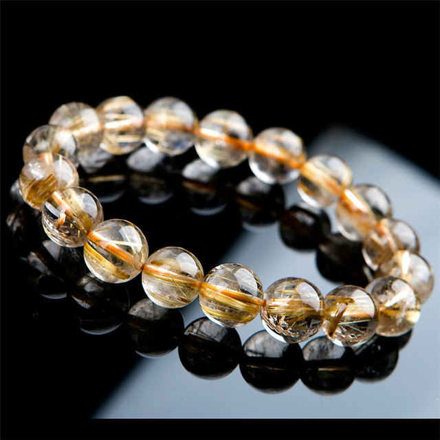 Aaa 11mm brasil natural titanium oro hair rutilado cristal de cuarzo claro granos redondos stretch bracelet sólo uno