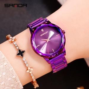 Image 4 - Sanda אופנה יוקרה נשים קוורץ שעונים צבע יהלומי שעוני יד מקרית שעון גבירותיי שעונים reloj mujer relogio feminino
