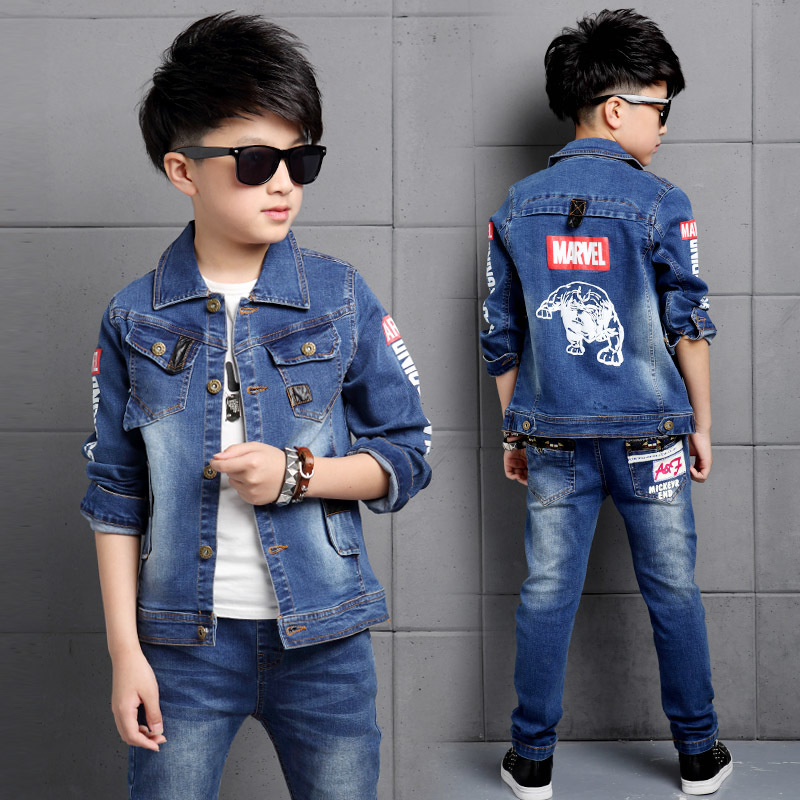 Boys Denim Jacket+Pants Children Clothing Sets Jeans Suit for Boys Long Sleeves Spring Casual Clothing Set Daily Wear For Cowboy beswlz brand men denim jeans straight slim male cowboy jeans pants fashion classical casual style men blue jeans 9521