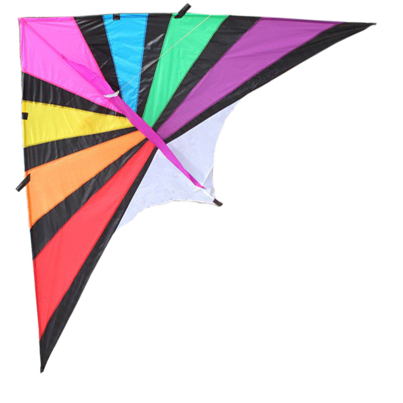 Free Shipping  NEW Outdoor Fun Sports 2.8m  Rainbow Power Triangle Kite  With Handle And Line Good Flying