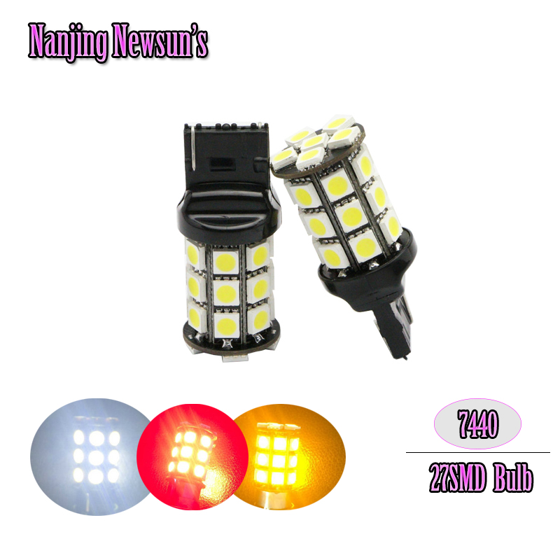T20 27 SMD 5050 LED Lamp car Turn signal Light bulb T20 7440 W21W White Red blue green yellow 12V canbus light