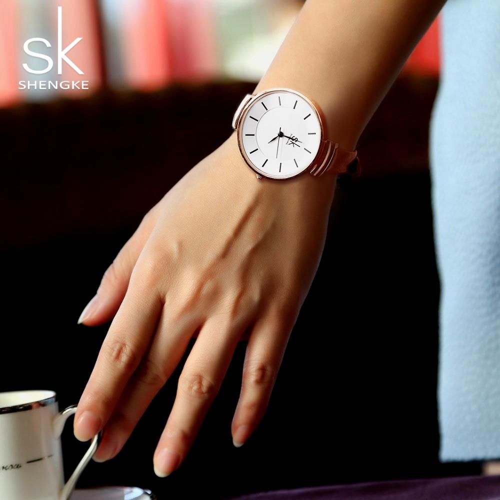 2017 Shengke Nowa Moda 10mm Skórzany Pasek Zegarek Kwarcowy Kobiety - Zegarki damskie - Zdjęcie 6