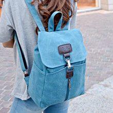 Simple dulce de diseño mujeres de la lona mochila muchachas de la manera del bolso de la vendimia pequeña bolsa de viaje de ocio