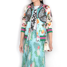 Runway Style Bomber Jacket Women Basic Coats 2017 Autumn Winter Fashion Brand Floral Butterfly Embroidery Jacket chaquetas mujer