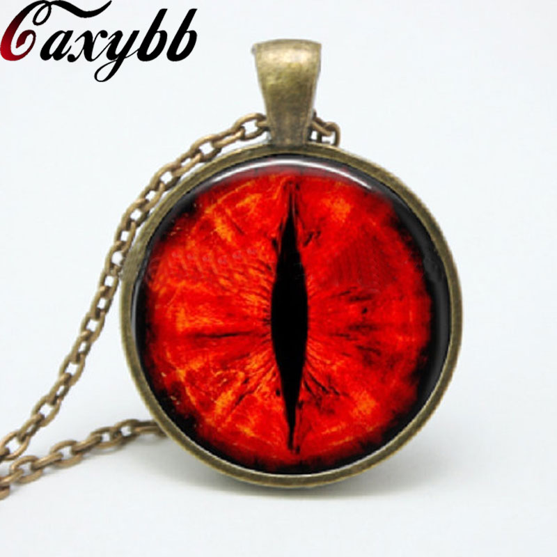Perfect 1 Pcs Red Dragon Cat Eye Necklace Pendant Fantasy Picture Photo Art  Handmade Jewelry Glass Cabochon Women Necklace FTC 51