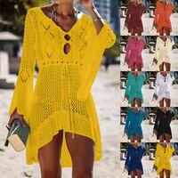 2019 Пляжная накидка, вязаная кисточка пляжная туника, длинное парео, летний купальник, сексуальное прозрачное пляжное платье