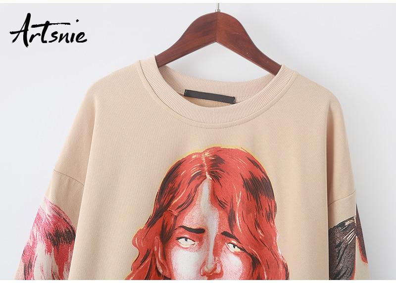 Artsnie streetwear character print women sweatshirt spring 19 o neck long sleeve pullover knitted oversized hoodie sweatshirts 10
