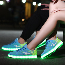 Colorful Luminous Shoes Fluorescent Couple Models LED Lights Shoes Men and Women Board Shoes USB Charging sneakers