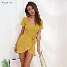 Solid Short Sleeve Ruffle Lace Mini Dress Women With Bow 2019 Summer Yellow Ruffled Pleated Dresses