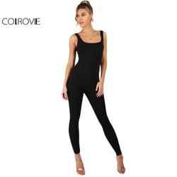COLROVIE الأسود ثوب بودي كون المرأة أكمام موجز سليم الأساسية تانك حللا موضة سكوب الرقبة نحيل مثير بذلة