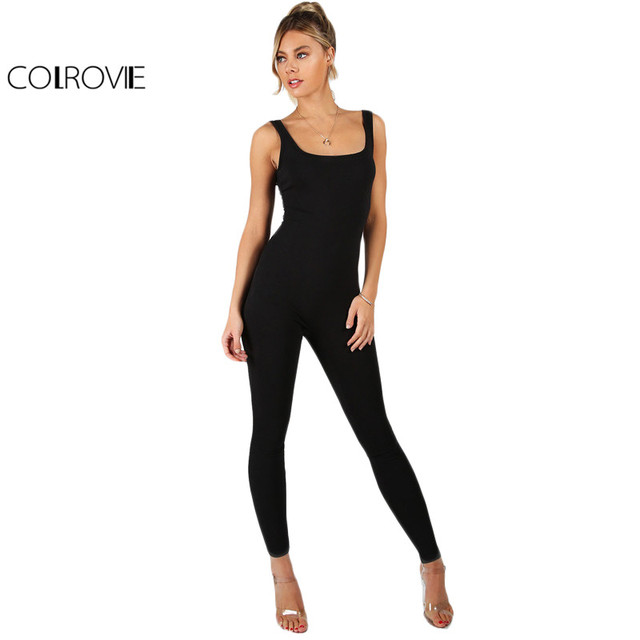 4f8222d8e5bc COLROVIE Black Bodycon Jumpsuit Women Sleeveless Brief Slim Basic Tank Jumpsuits  Fashion Scoop Neck Skinny Sexy
