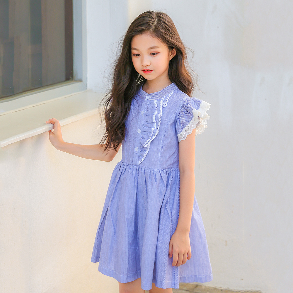 2018 Girl Striped Dress Summer Big Girls Dresses Children Clothes Teenagers Kids Clothing For 45 6 7 8 9 10 11 12 13 14 15 Years summer seaside girls dresses children korean style clothing big girl casual striped costume kids cotton clothes junior vestidos