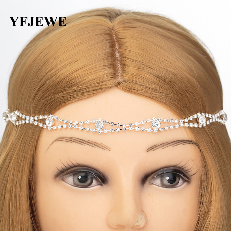 YFJEWE New Design Wedding Party Hair Accessories Crystal Chain Charms Head Bands Women Jewelry Wedding Bridal Hair Jewelry H013