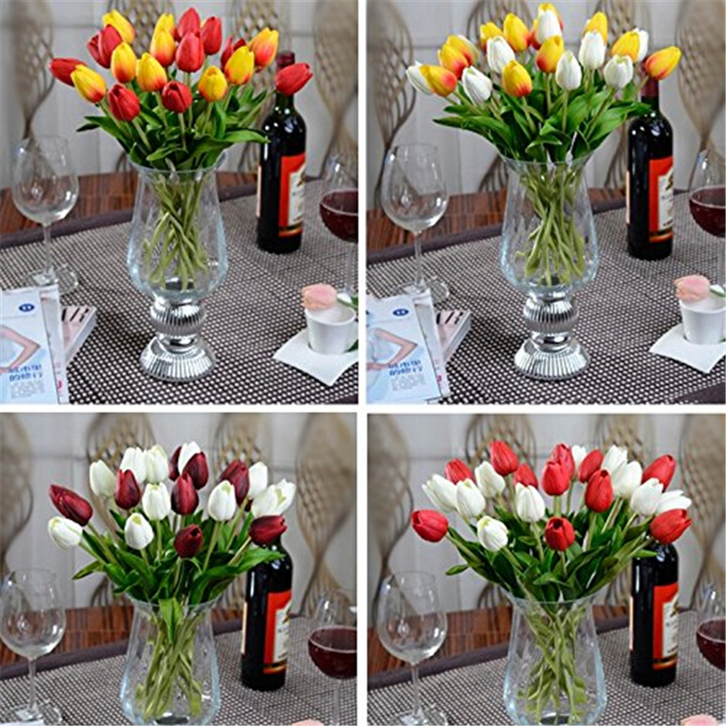 6 шт./партия латекс Настоящее сенсорный мини Искусственный тюльпан цветы Букеты для дома Свадебные Декоративные цветы и венки