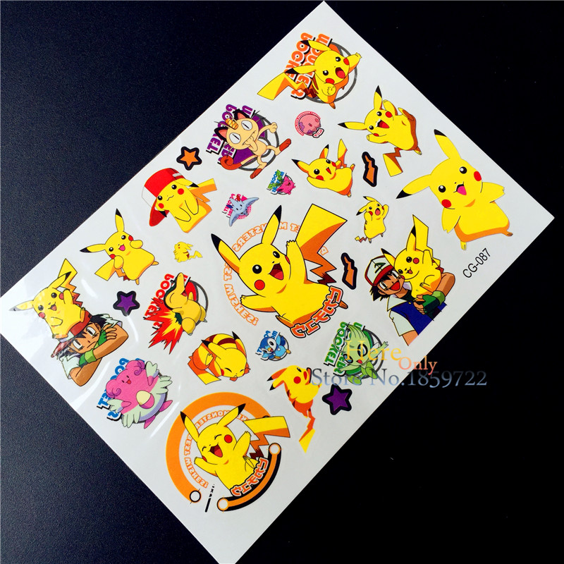 Pokemon Go Temporary Tattoo Flash Tattoo Stickers For CHildren BOdy Art Fake Tatoo Pikachu Waterproof Body