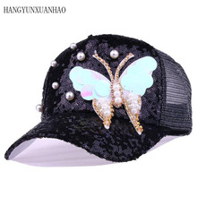 Luxury Women Baseball Cap Brand Bling butterfly Pearl Sequins Hip Hop Vintage Snap Back Design Casual Snapback Hat New